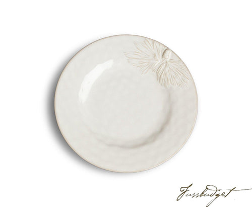 White Pinecone Salad/Dessert Plate (sold in boxes of 4)-Fussbudget.com