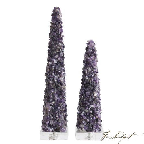 Cienega Purple Quartz Obelisks [Set of 2]-Fussbudget.com