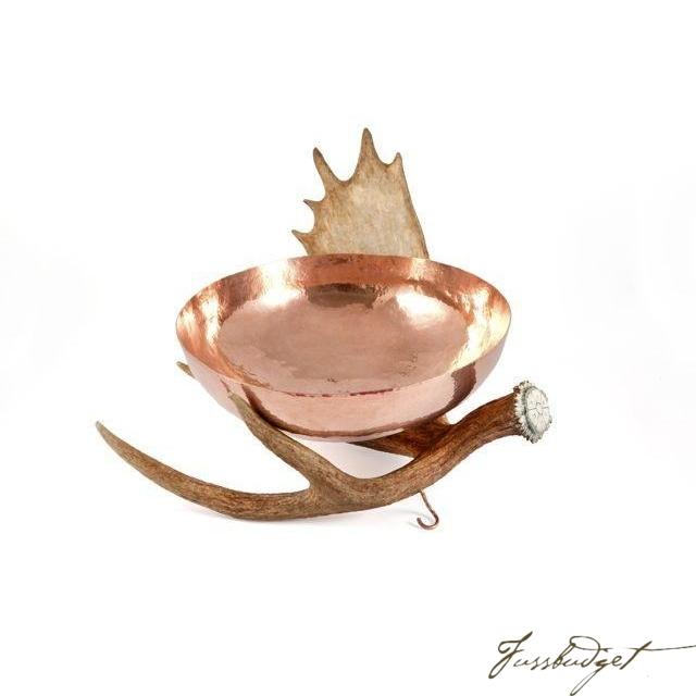 Copper Bowl with Moose Antler Stand-Fussbudget.com
