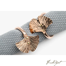 Load image into Gallery viewer, Copper Ginkgo Leaf Napkin Ring-Fussbudget.com