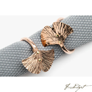Copper Ginkgo Leaf Napkin Ring-Fussbudget.com