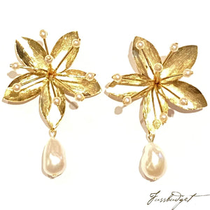 Laura Flower Earrings with Pearl Drop