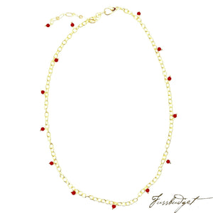 Jane Gold Chain with Red Coral Drops