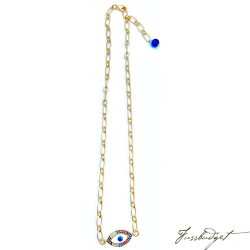 Rainbow Pave God's Eye Pendant on Matte Gold Necklace