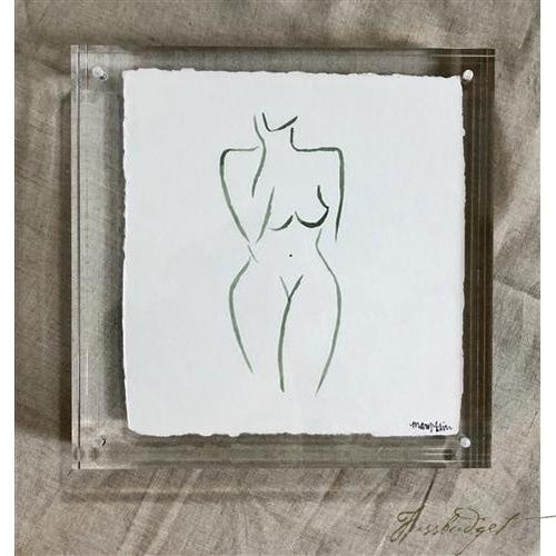 Original Watercolor Painting in Acrylic Frame - Emerald Silhouette-Fussbudget.com