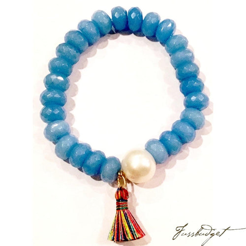 Cornflower Blue Quartz and Pearl Stretchy Bracelet with Multi Tassel-Fussbudget.com