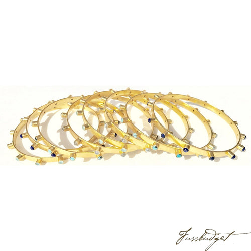 Bangle Bracelet with Gold and Semiprecious Stones-Fussbudget.com