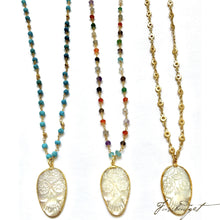 Load image into Gallery viewer, Mother of Pearl Sugar Skull Pendant on Assorted Chains