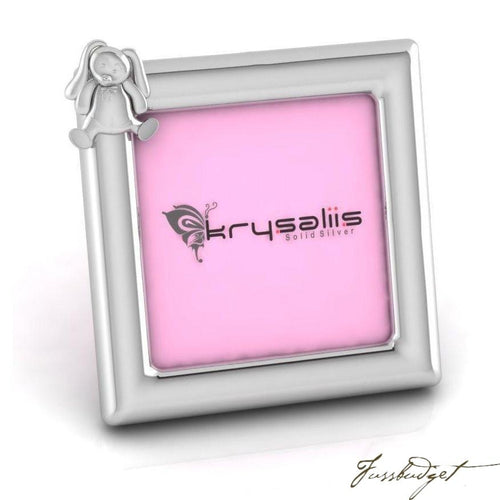 Rabbit Square Sterling Silver Baby Picture Frame-Fussbudget.com