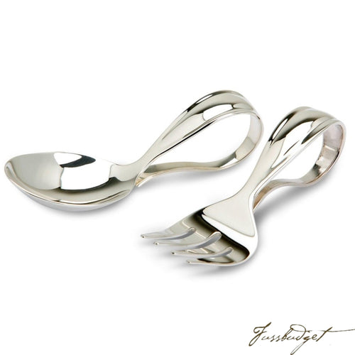 Sterling Silver Bent Curved Baby Spoon & Fork Set-Fussbudget.com