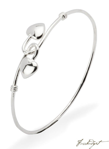Sterling Silver Baby 2 Heart Bracelet Bangle