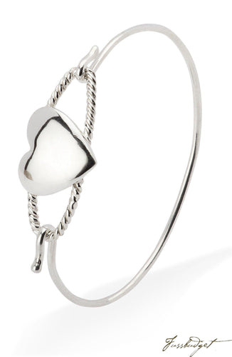 Sterling Silver Baby Cord Heart Bracelet Bangle