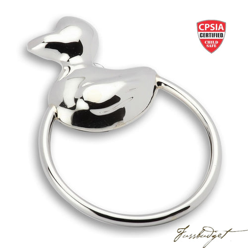 Sterling Silver Duck Ring Baby Rattle-Fussbudget.com