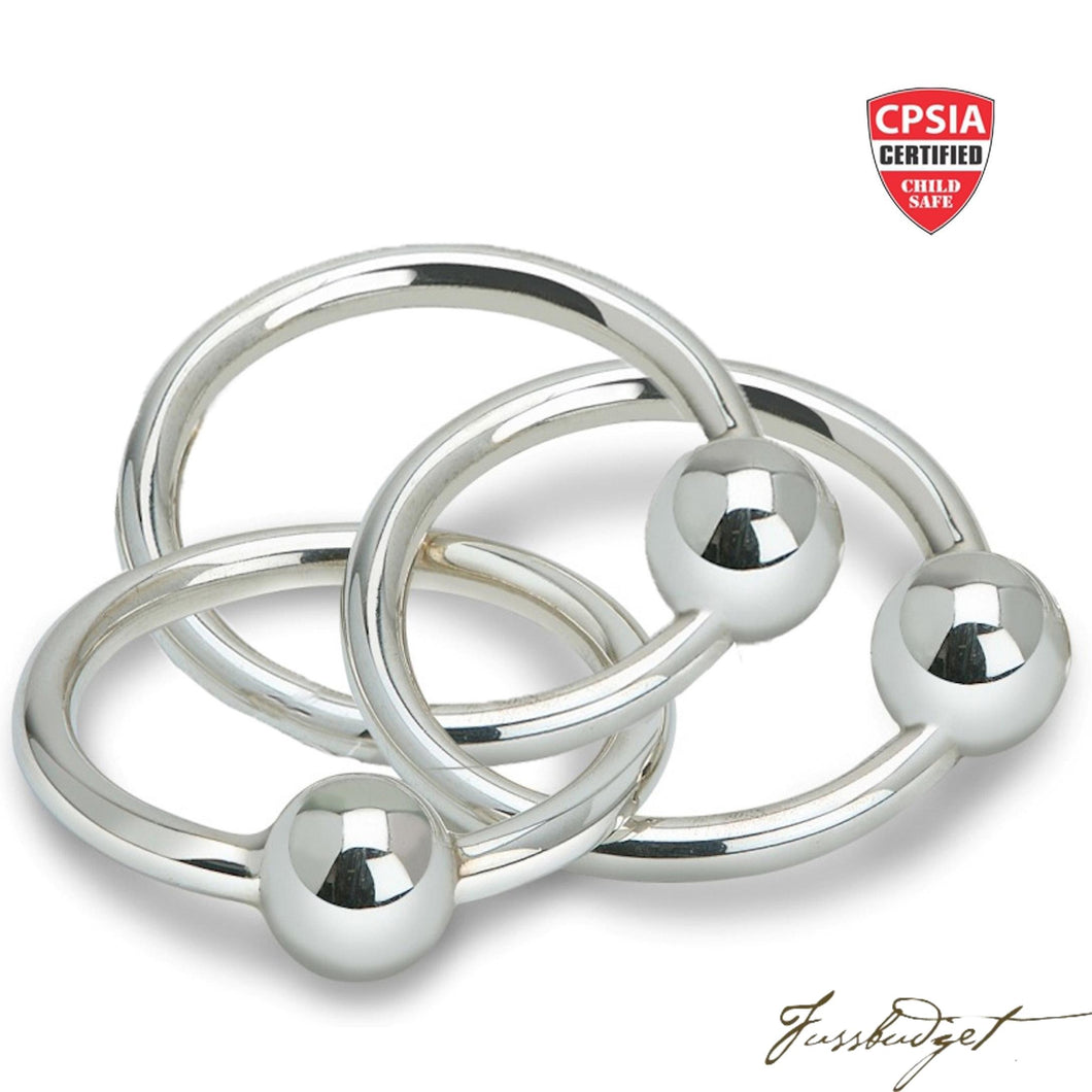 Sterling Silver Three Ring Teether & Rattle-Fussbudget.com