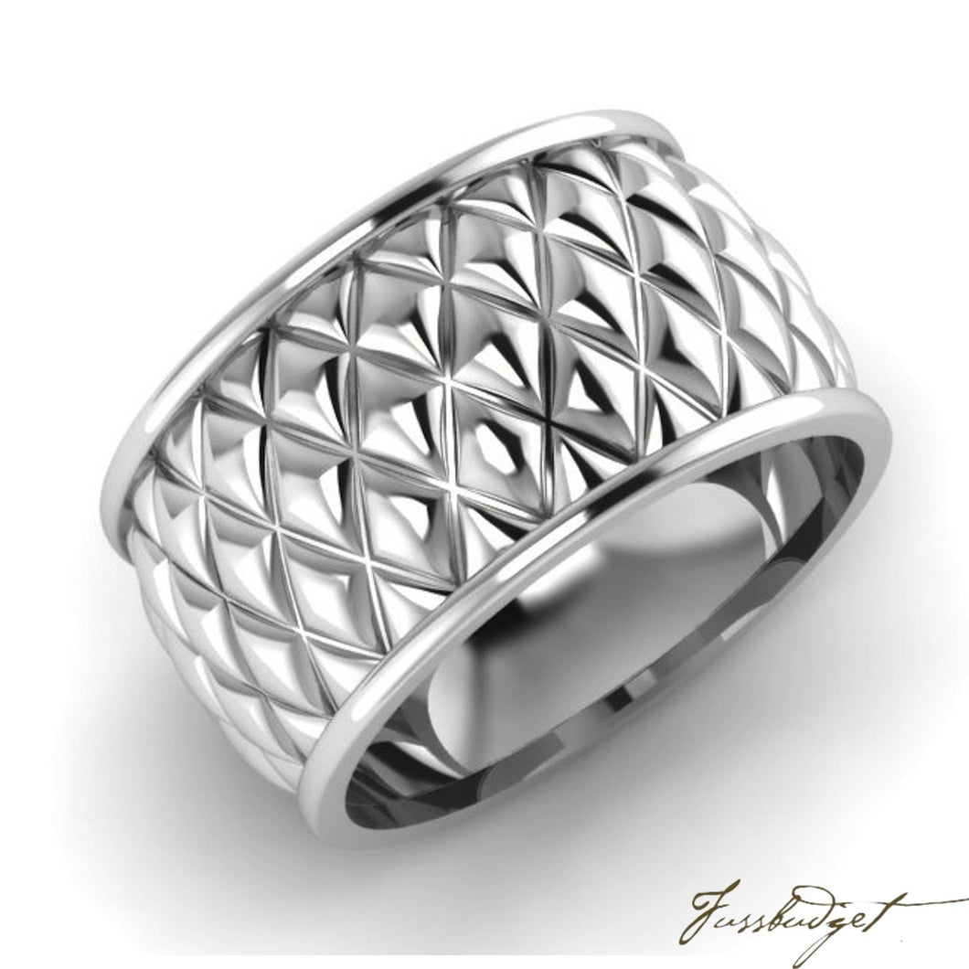 Sterling Silver Checkered Napkin Ring- Set of 2-Fussbudget.com
