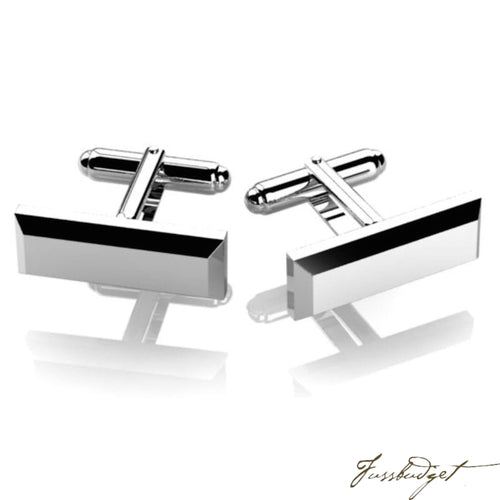 Sterling Silver Rectangle Edged Cufflink-Fussbudget.com