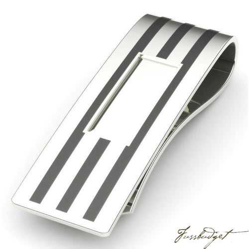 Sterling Silver Black Enamel Stripe Money Clip-Fussbudget.com