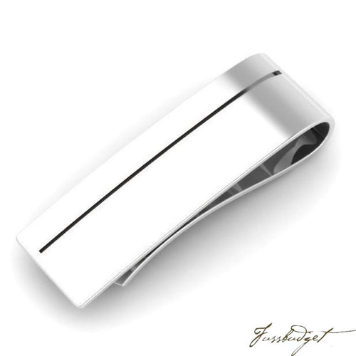 Engraved Sterling Silver Sleek Enamel Money Clip-Fussbudget.com