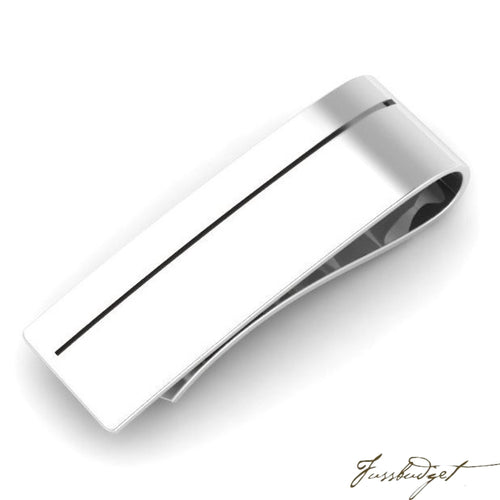 Sterling Silver Sleek Enamel Money Clip-Fussbudget.com