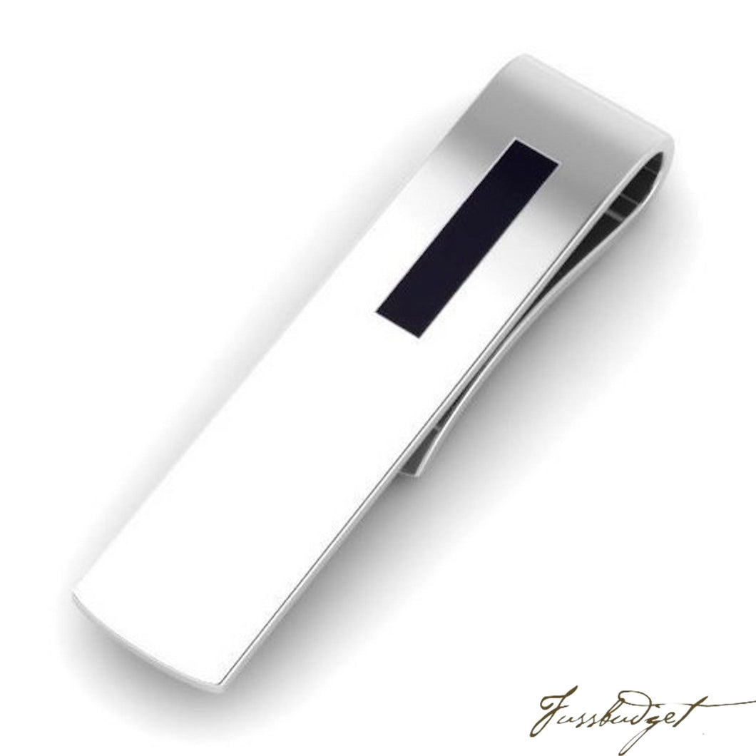 Sterling Silver Rectangle Black Enamel Tie Pin-Fussbudget.com