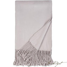 Load image into Gallery viewer, Luxxe Fringe Throw - Dove Grey-Fussbudget.com