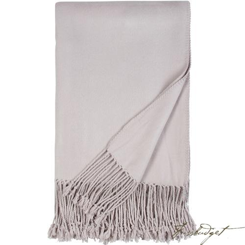 Luxxe Fringe Throw - Dove Grey-Fussbudget.com