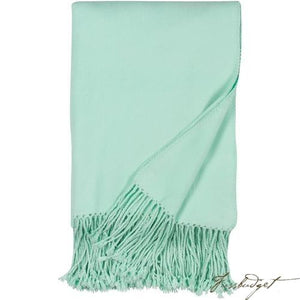 Luxxe Fringe Throw - Sea Foam Green-Fussbudget.com