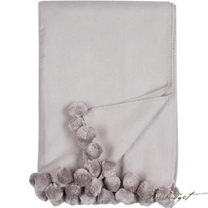 Luxxe Pom Pom Throw - Dove Grey-Fussbudget.com