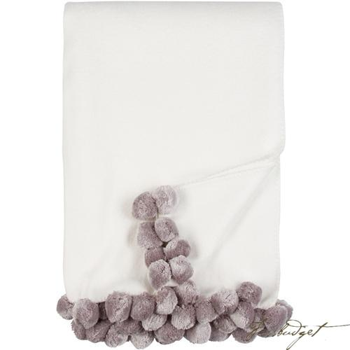Luxxe Pom Pom Throw - Ivory/Dove-Fussbudget.com