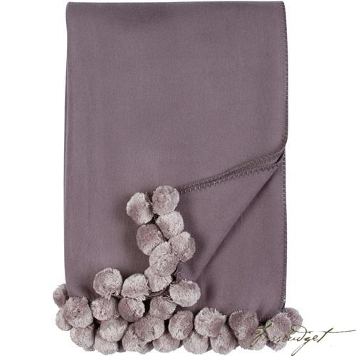 Luxxe Pom Pom Throw - Steel/Dove-Fussbudget.com