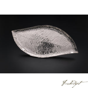 Hand Crafted Silver Magnolia Leaf Tray-Fussbudget.com
