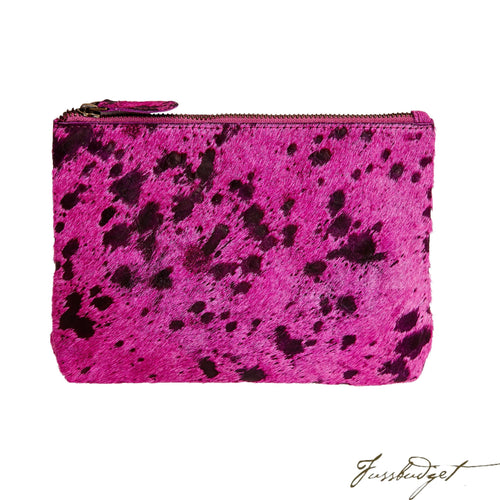 Bailey - Cowhide Leather Pouch - Fuchsia-Fussbudget.com