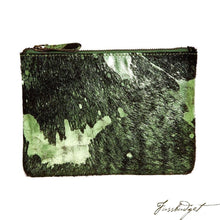 Load image into Gallery viewer, Bailey - Cowhide Leather Pouch - Shamrock/Black-Fussbudget.com