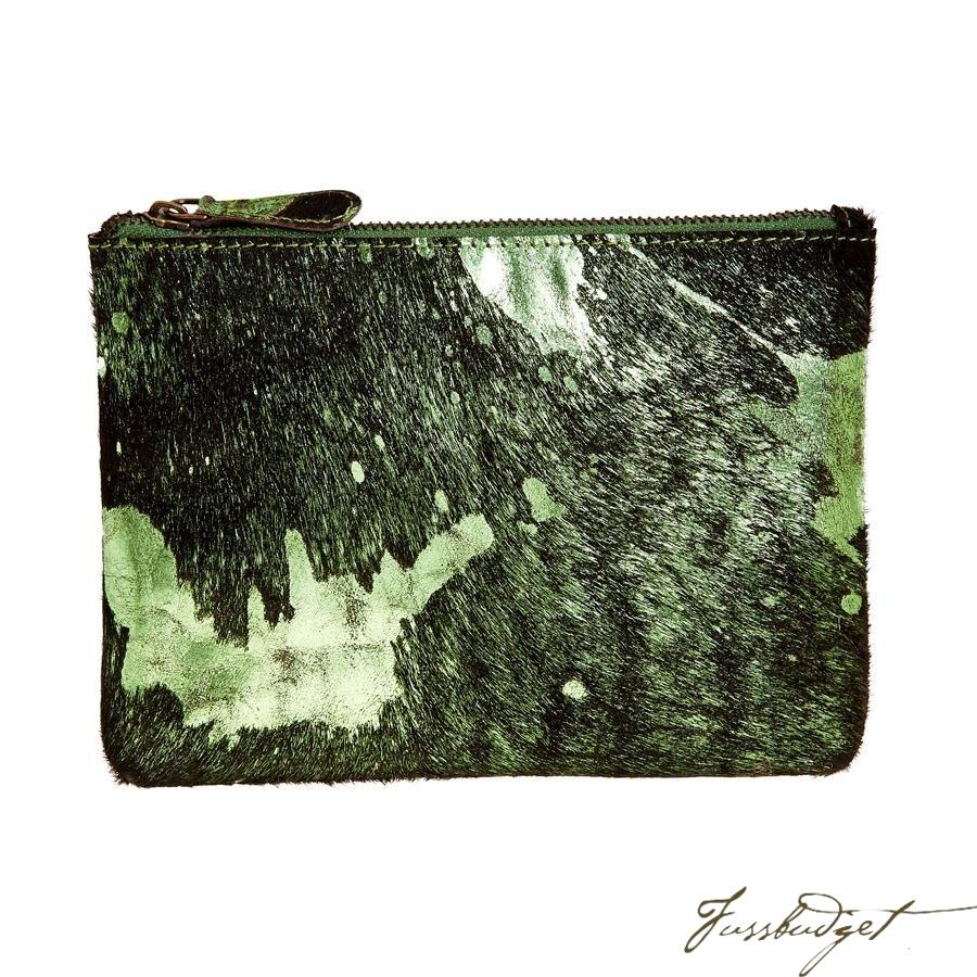 Bailey - Cowhide Leather Pouch - Shamrock/Black-Fussbudget.com