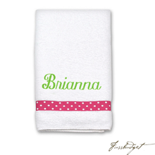 Load image into Gallery viewer, Personalized White Bath or Pool Towel with Ribbon Accent (Monogram or Name)-Fussbudget.com