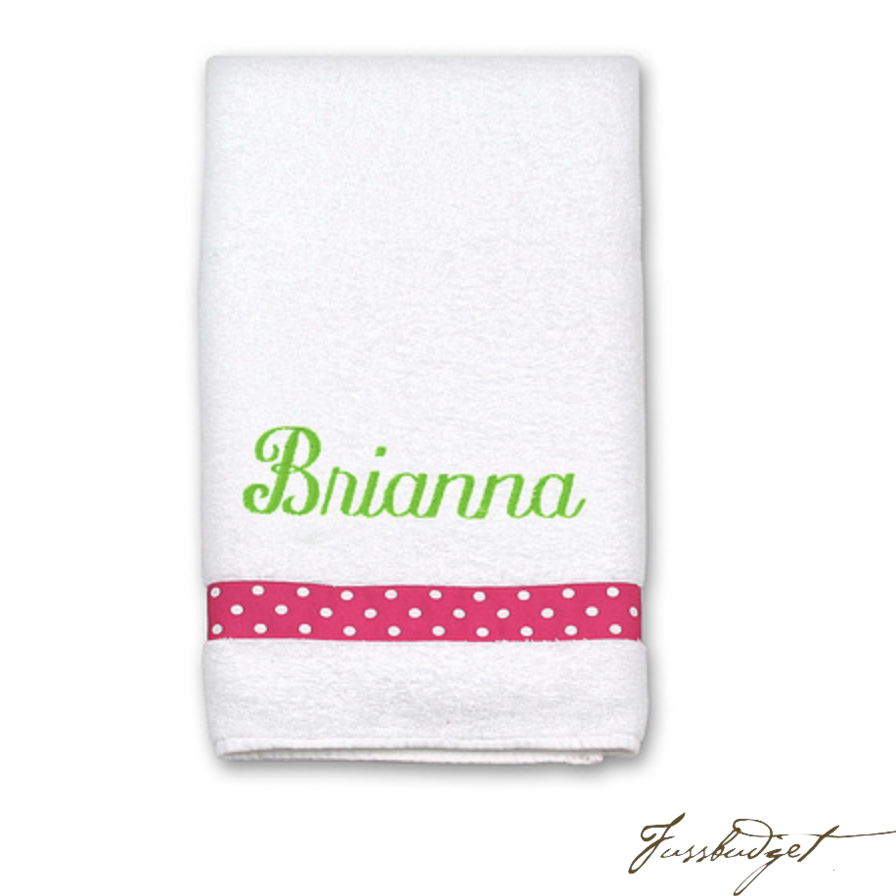 Personalized White Bath or Pool Towel with Ribbon Accent (Monogram or Name)-Fussbudget.com
