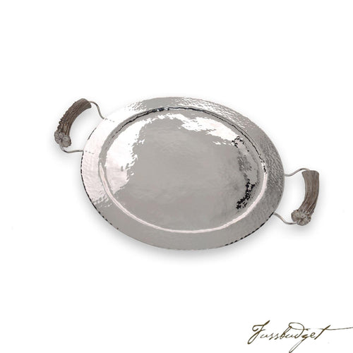Silver Round Tray with Burr Handles-Fussbudget.com