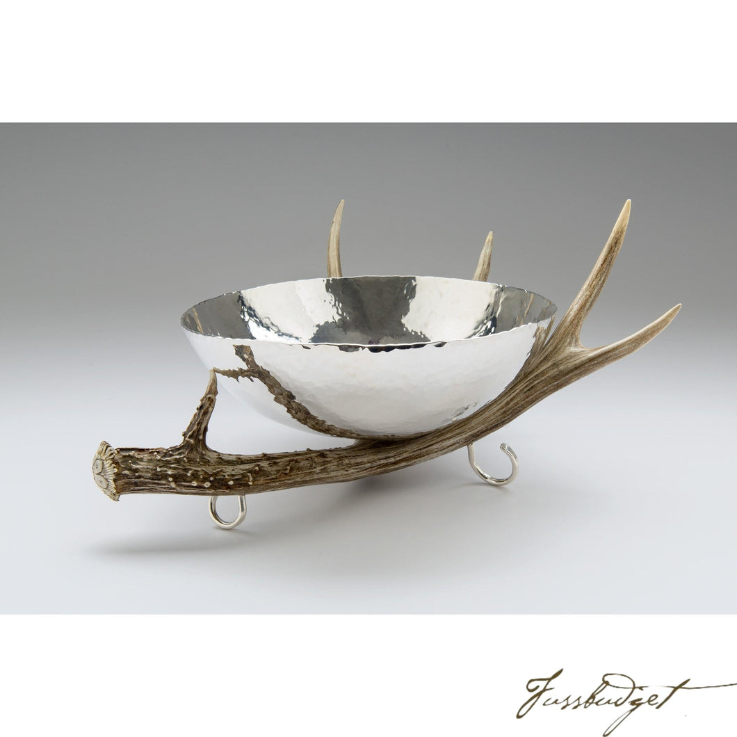 Silver Bowl with Antler Stand-Fussbudget.com
