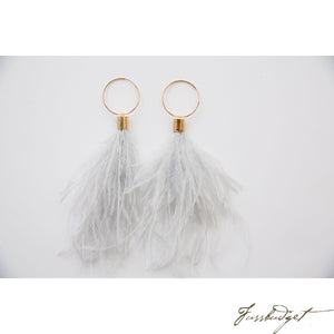 Ostrich Feather Hoops in grey-Fussbudget.com