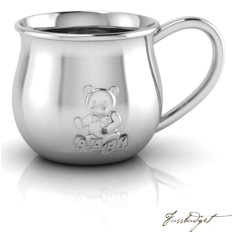 Sterling Silver Teddy Embossed Baby Cup-Fussbudget.com