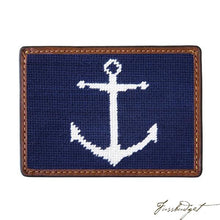 Load image into Gallery viewer, Anchor (Navy) Needlepoint Card Wallet