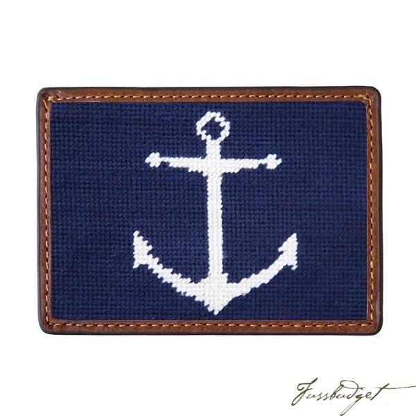 Anchor (Navy) Needlepoint Card Wallet