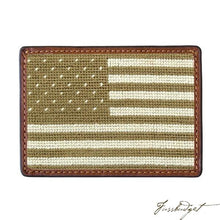 Load image into Gallery viewer, Armed Forces Flag Needlepoint Card Wallet
