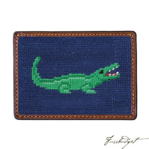 Alligator Needlepoint Card Wallet