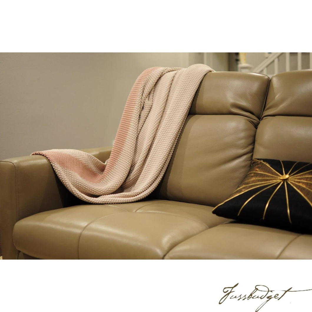 Cotton throw blanket - Marici Collection - Cream/Light Pink-Fussbudget.com