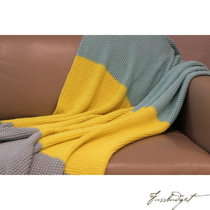 Cotton Throw Blanket - Zac Collection - Tri Color - Grey/Yellow/Blue-Fussbudget.com