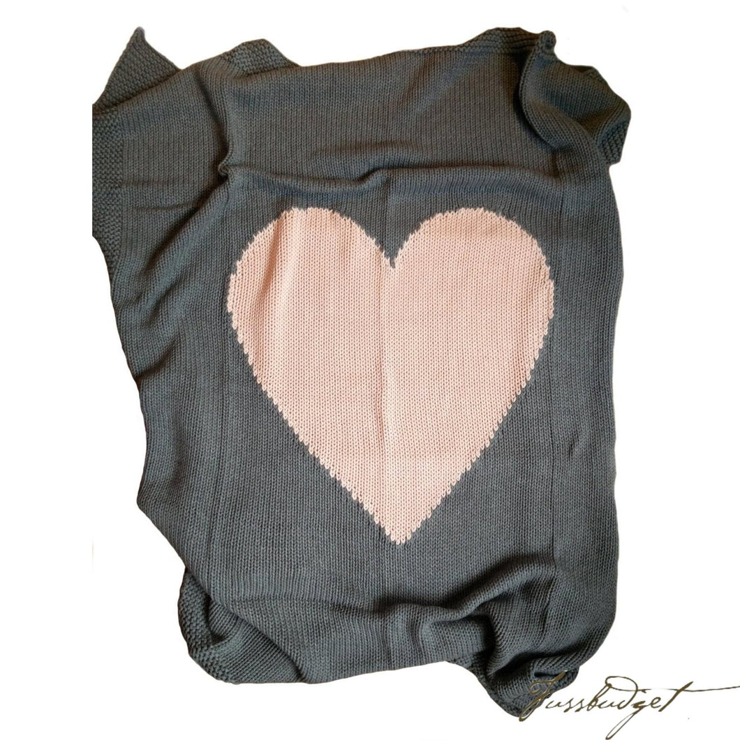 Baby Love - Baby Blanket - 100% Cotton - Dark grey and baby pink-Fussbudget.com