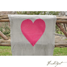 Load image into Gallery viewer, Baby Love - Baby Blanket - 100% Cotton - Light grey and pink heart-Fussbudget.com
