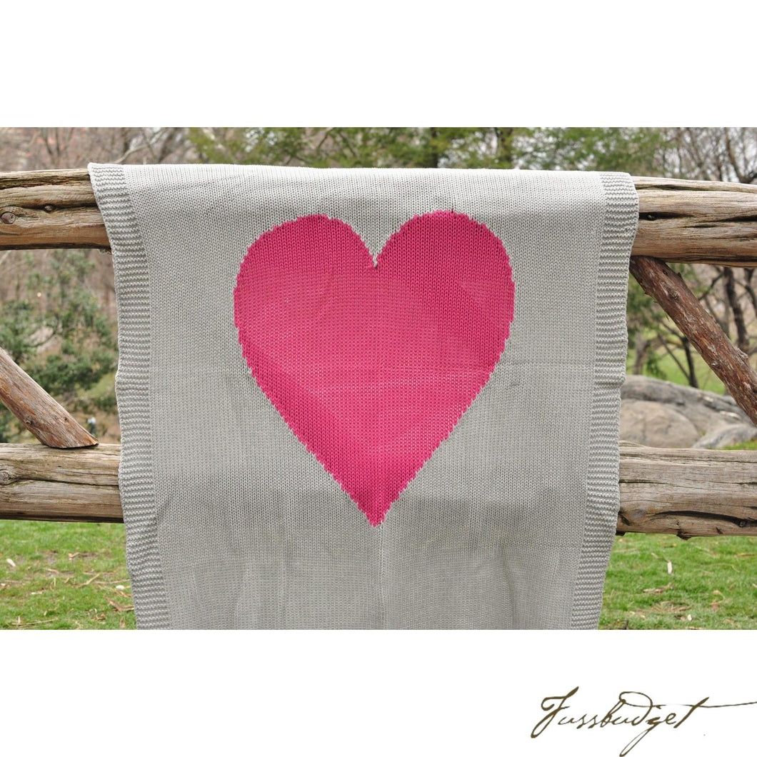 Baby Love - Baby Blanket - 100% Cotton - Light grey and pink heart-Fussbudget.com