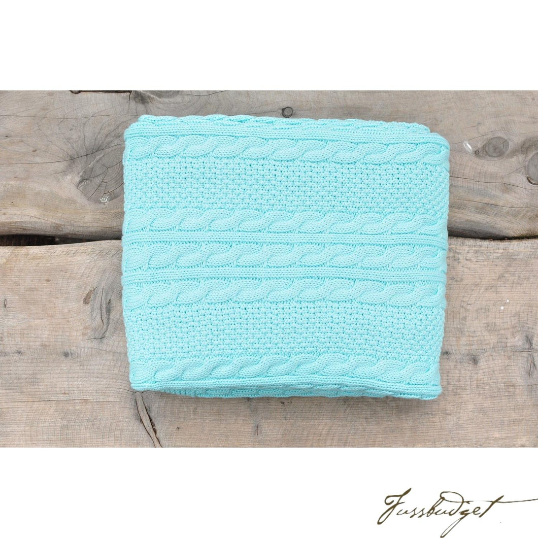 Cable Mix - Light Blue - Baby Blanket - 100% Cotton-Fussbudget.com